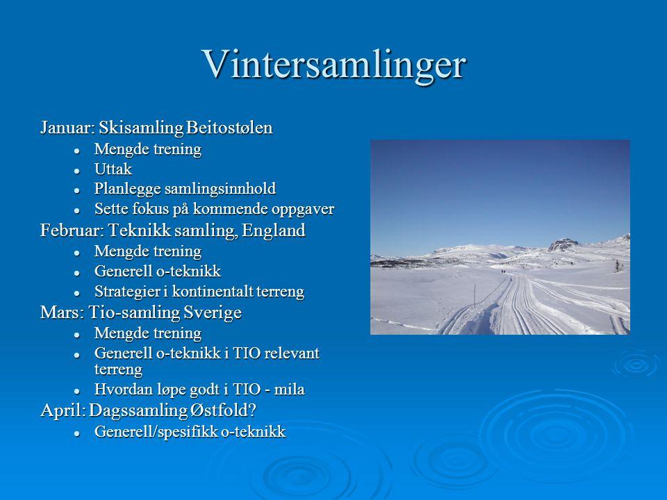 Vintersamlinger Januar: Skisamling Beitostølen Mengde trening Mengde trening Uttak Uttak Planlegge samlingsinnhold Planlegge samlingsinnhold Sette fok