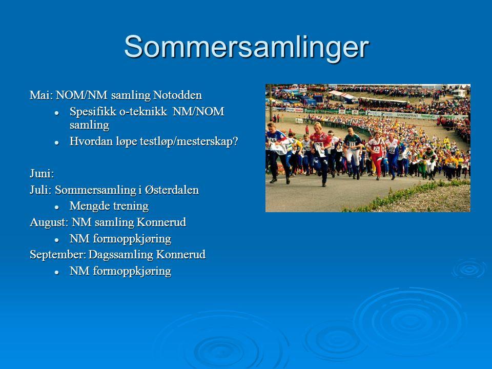 Sommersamlinger Mai: NOM/NM samling Notodden Spesifikk o-teknikk NM/NOM samling Spesifikk o-teknikk NM/NOM samling Hvordan løpe testløp/mesterskap? Hv