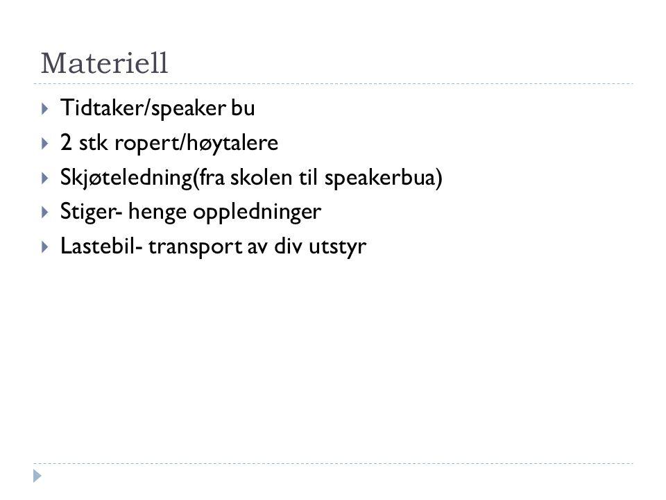 Materiell  Tidtaker/speaker bu  2 stk ropert/høytalere  Skjøteledning(fra skolen til speakerbua)  Stiger- henge oppledninger  Lastebil- transport av div utstyr