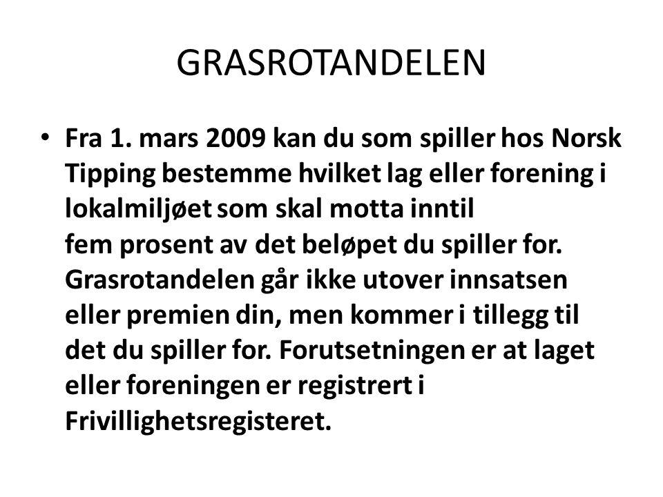 GRASROTANDELEN Spillerkortet Spillerkortet til Norsk Tipping er selve nøkkelen til Grasrotandelen.