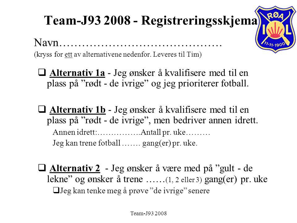Team-J93 2008 Team-J93 2008 - Registreringsskjema Navn…………………………………….