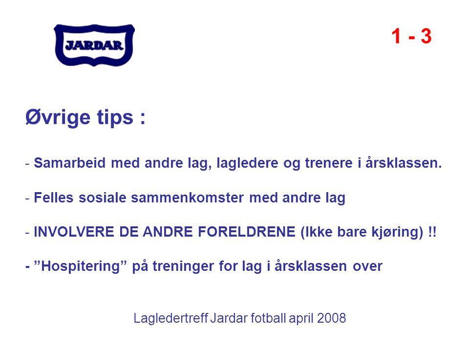 Lagledertreff Jardar fotball april 2008 1 - 3 Øvrige tips : - Samarbeid med andre lag, lagledere og trenere i årsklassen. - Felles sosiale sammenkomst