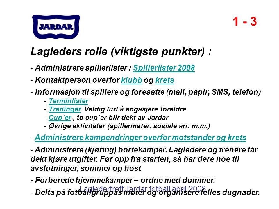 Lagledertreff Jardar fotball april 2008 Lagleders rolle (viktigste punkter) : - Administrere spillerlister : Spillerlister 2008Spillerlister 2008 - Ko