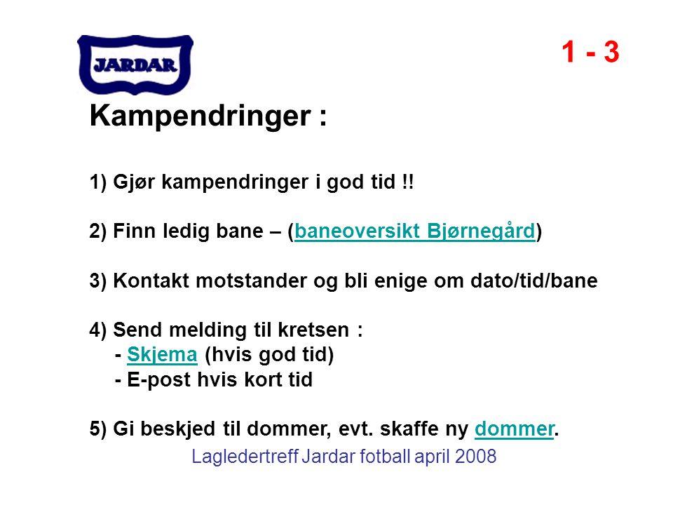 Lagledertreff Jardar fotball april 2008 Kampendringer : 1) Gjør kampendringer i god tid !! 2) Finn ledig bane – (baneoversikt Bjørnegård)baneoversikt