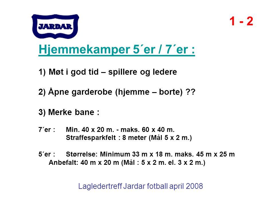 Lagledertreff Jardar fotball april 2008 Hjemmekamper 5´er / 7´er : 1)Møt i god tid – spillere og ledere 2) Åpne garderobe (hjemme – borte) ?? 3) Merke