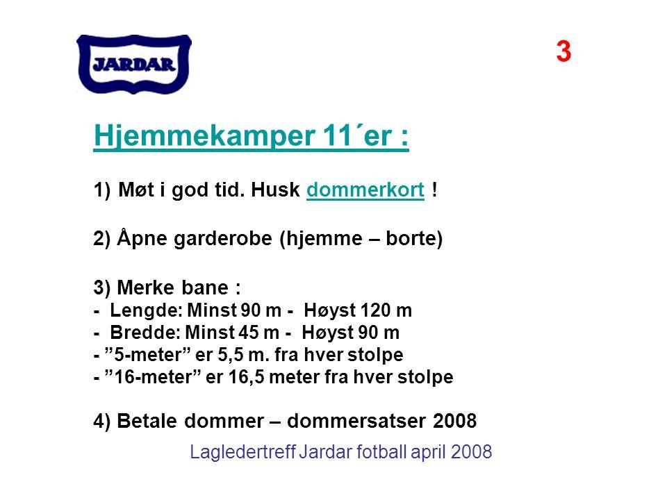 Lagledertreff Jardar fotball april 2008 Hjemmekamper 11´er : 1)Møt i god tid. Husk dommerkort !dommerkort 2) Åpne garderobe (hjemme – borte) 3) Merke