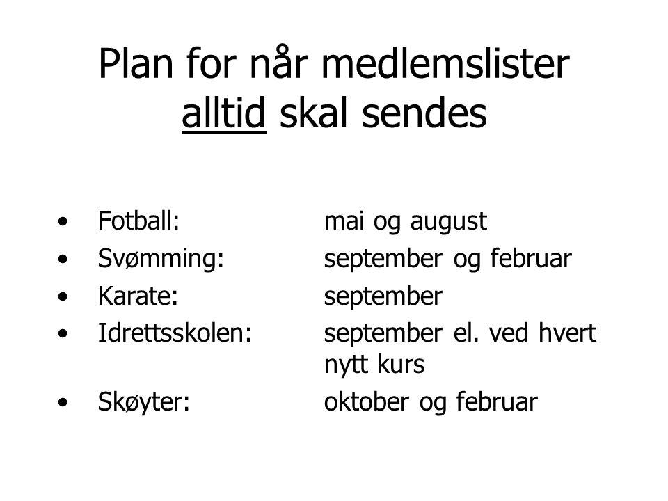 Plan for når medlemslister alltid skal sendes Fotball: mai og august Svømming:september og februar Karate:september Idrettsskolen:september el. ved hv