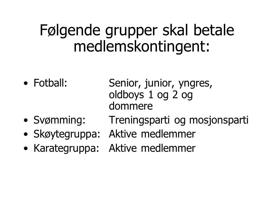 Følgende grupper skal betale medlemskontingent: Fotball: Senior, junior, yngres, oldboys 1 og 2 og dommere Svømming: Treningsparti og mosjonsparti Skø