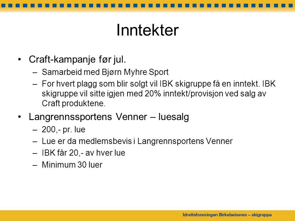 Inntekter Craft-kampanje før jul. –Samarbeid med Bjørn Myhre Sport –For hvert plagg som blir solgt vil IBK skigruppe få en inntekt. IBK skigruppe vil