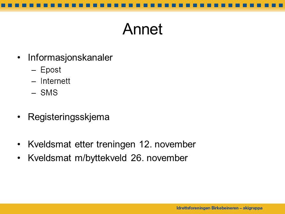 Annet Informasjonskanaler –Epost –Internett –SMS Registeringsskjema Kveldsmat etter treningen 12. november Kveldsmat m/byttekveld 26. november