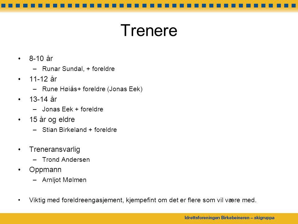 Trenere 8-10 år –Runar Sundal, + foreldre 11-12 år –Rune Høiås+ foreldre (Jonas Eek) 13-14 år –Jonas Eek + foreldre 15 år og eldre –Stian Birkeland +