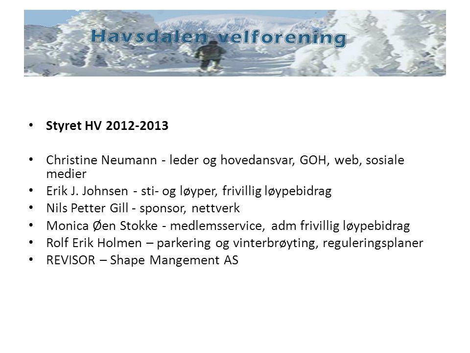 Styret HV 2012-2013 Christine Neumann - leder og hovedansvar, GOH, web, sosiale medier Erik J. Johnsen - sti- og løyper, frivillig løypebidrag Nils Pe