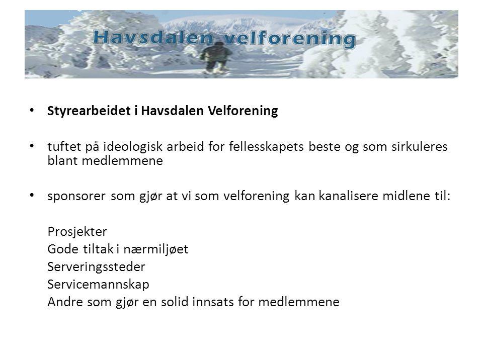 Styrearbeidet i Havsdalen Velforening tuftet på ideologisk arbeid for fellesskapets beste og som sirkuleres blant medlemmene sponsorer som gjør at vi