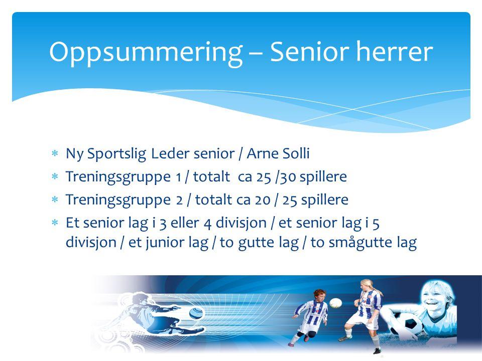  Ny Sportslig Leder senior / Arne Solli  Treningsgruppe 1 / totalt ca 25 /30 spillere  Treningsgruppe 2 / totalt ca 20 / 25 spillere  Et senior lag i 3 eller 4 divisjon / et senior lag i 5 divisjon / et junior lag / to gutte lag / to smågutte lag Oppsummering – Senior herrer