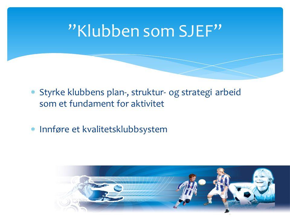  Styrke klubbens plan-, struktur- og strategi arbeid som et fundament for aktivitet  Innføre et kvalitetsklubbsystem Klubben som SJEF