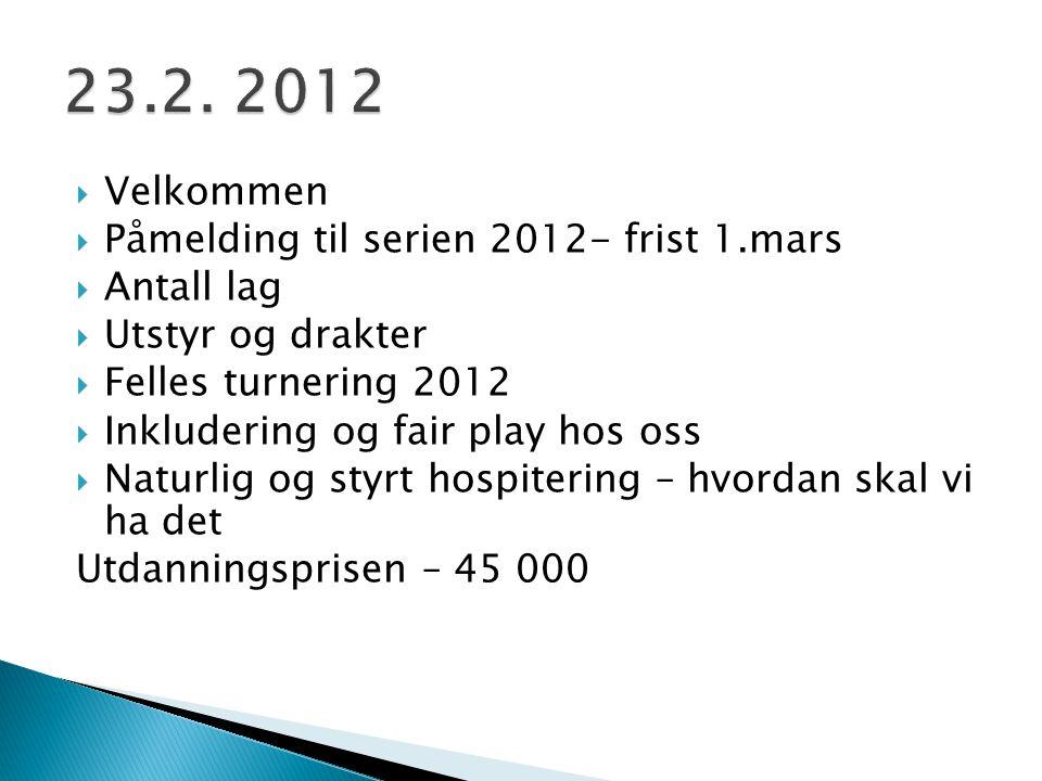  Velkommen  Påmelding til serien 2012- frist 1.mars  Antall lag  Utstyr og drakter  Felles turnering 2012  Inkludering og fair play hos oss  Na