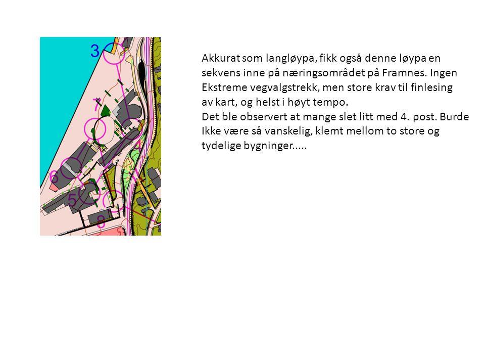 Akkurat som langløypa, fikk også denne løypa en sekvens inne på næringsområdet på Framnes.
