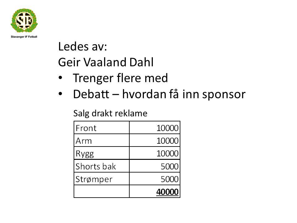 Ledes av: Geir Vaaland Dahl Trenger flere med Debatt – hvordan få inn sponsor Salg drakt reklame