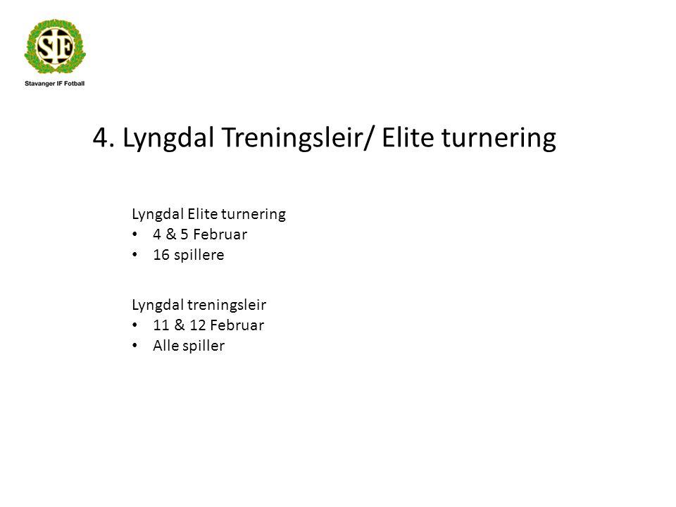 4. Lyngdal Treningsleir/ Elite turnering Lyngdal Elite turnering 4 & 5 Februar 16 spillere Lyngdal treningsleir 11 & 12 Februar Alle spiller