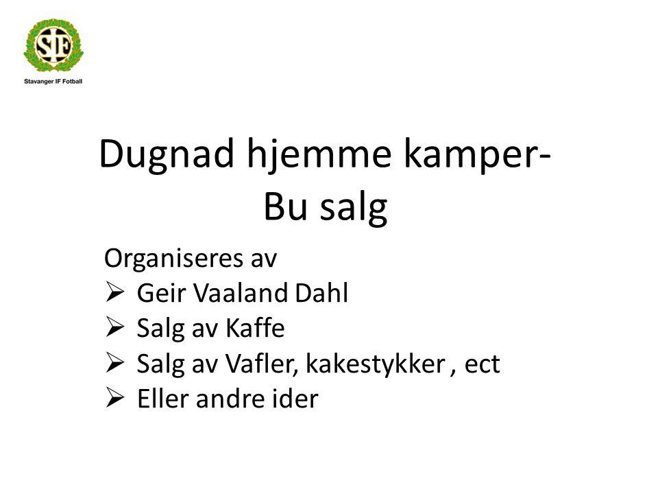 Dugnad hjemme kamper- Bu salg Organiseres av  Geir Vaaland Dahl  Salg av Kaffe  Salg av Vafler, kakestykker, ect  Eller andre ider