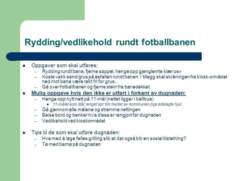 Rydding/vedlikehold rundt fotballbanen Oppgaver som skal utføres: – Rydding rundt bana, fjerne søppel, henge opp gjenglemte klær osv – Koste vekk sand