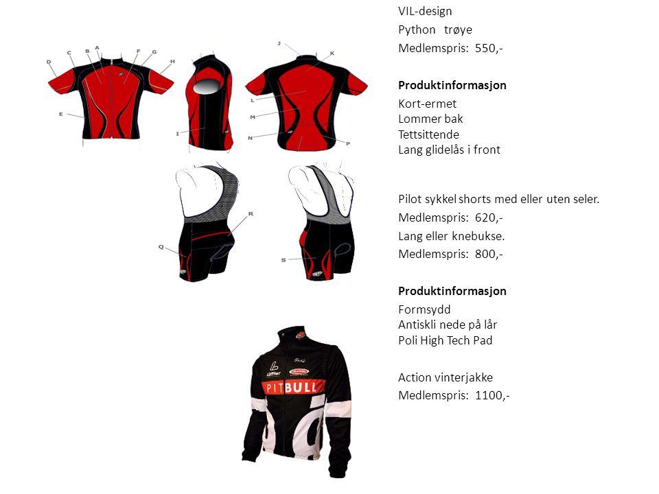 Sykkel VIL-design Python trøye Medlemspris: 550,- Produktinformasjon Kort-ermet Lommer bak Tettsittende Lang glidelås i front Pilot sykkel shorts med