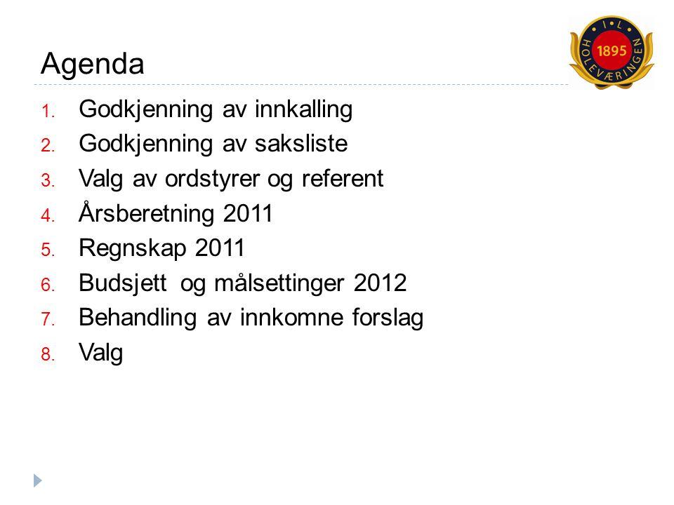 Merknader til regnskap 2011 og budsjett/mål 2012