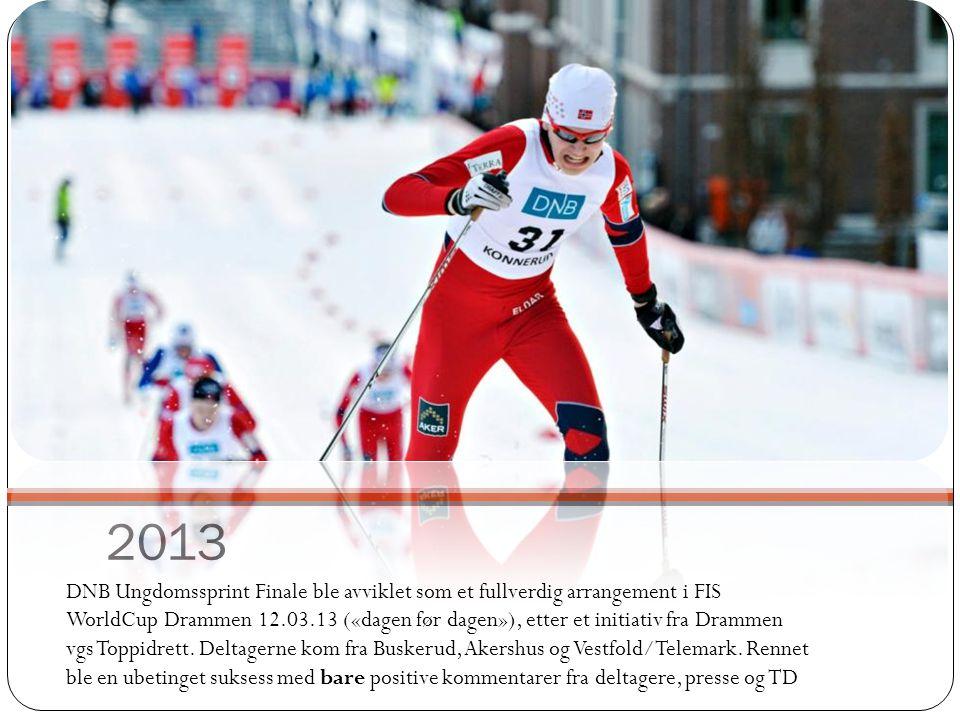 2013 DNB Ungdomssprint Finale ble avviklet som et fullverdig arrangement i FIS WorldCup Drammen 12.03.13 («dagen før dagen»), etter et initiativ fra D