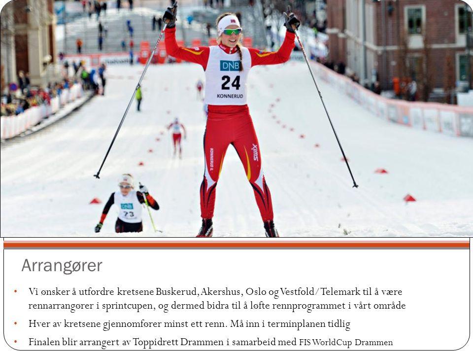 Arrangører Vi ønsker å utfordre kretsene Buskerud, Akershus, Oslo og Vestfold/Telemark til å være rennarrangører i sprintcupen, og dermed bidra til å