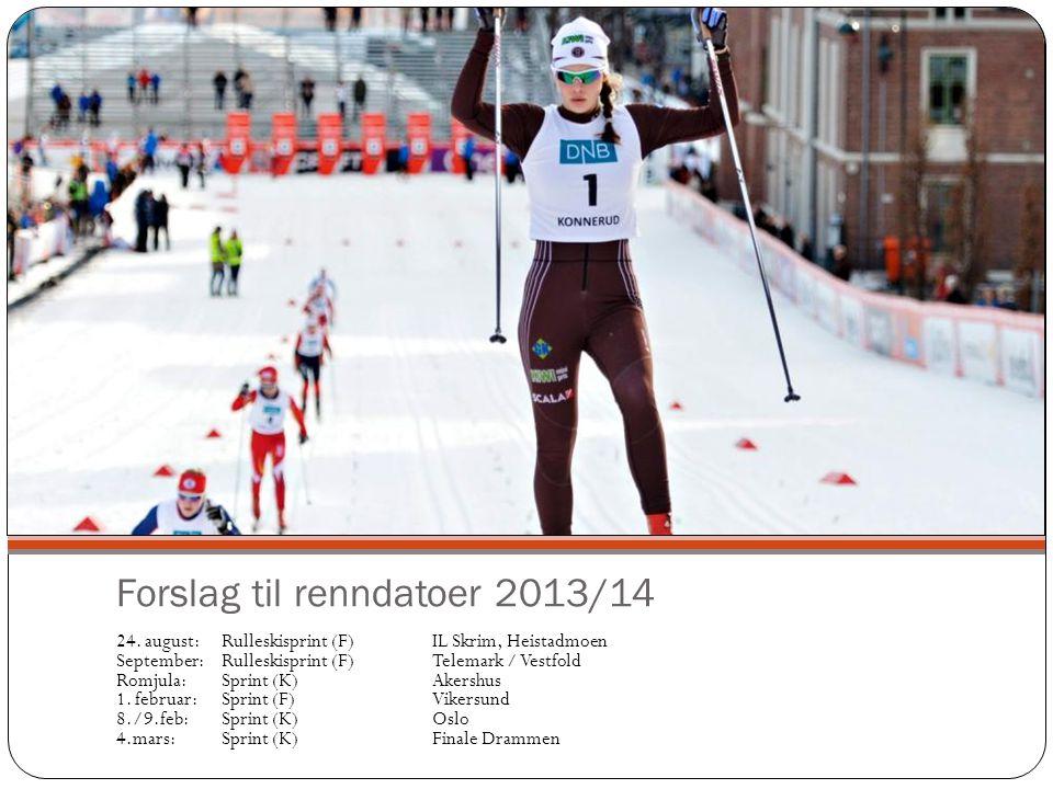 Forslag til renndatoer 2013/14 24. august:Rulleskisprint (F)IL Skrim, Heistadmoen September:Rulleskisprint (F)Telemark / Vestfold Romjula:Sprint (K)Ak