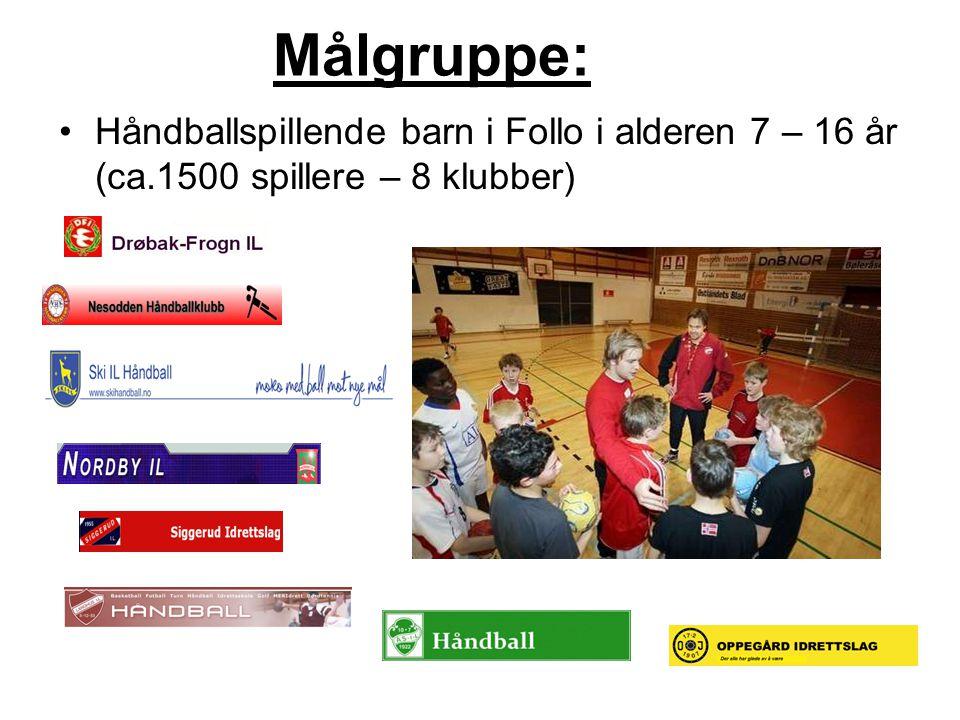 Målgruppe: Håndballspillende barn i Follo i alderen 7 – 16 år (ca.1500 spillere – 8 klubber)