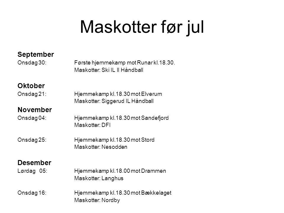 Maskotter før jul September Onsdag 30:Første hjemmekamp mot Runar kl.18.30. Maskotter: Ski IL ll Håndball Oktober Onsdag 21:Hjemmekamp kl.18.30 mot El
