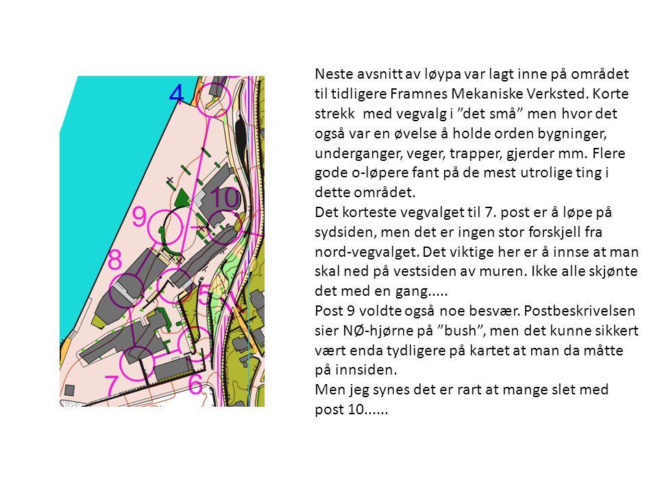 Neste avsnitt av løypa var lagt inne på området til tidligere Framnes Mekaniske Verksted.