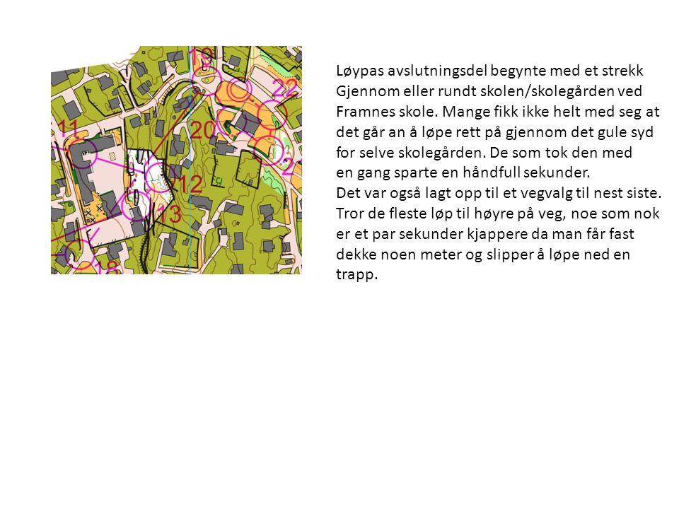 Løypas avslutningsdel begynte med et strekk Gjennom eller rundt skolen/skolegården ved Framnes skole.
