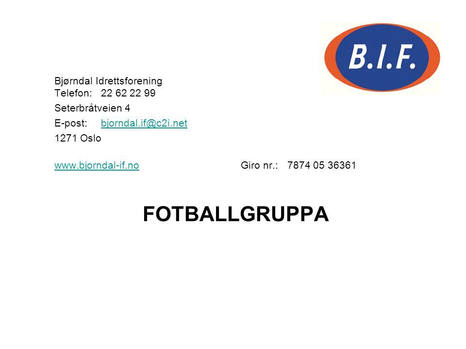 Bjørndal Idrettsforening Telefon:22 62 22 99 Seterbråtveien 4 E-post:bjorndal.if@c2i.netbjorndal.if@c2i.net 1271 Oslo www.bjorndal-if.nowww.bjorndal-i