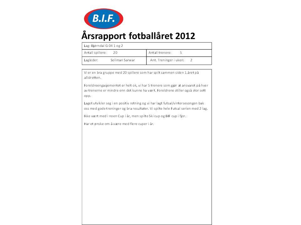 Årsrapport fotballåret 2012