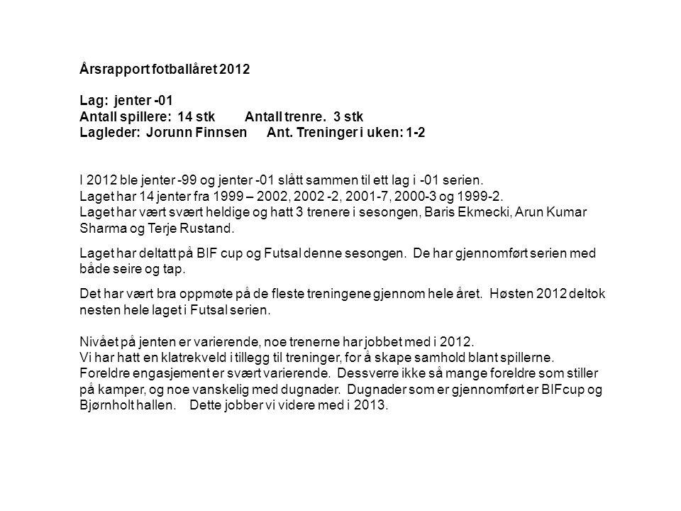 Lag: jenter -01 Antall spillere: 14 stk Antall trenre. 3 stk Lagleder: Jorunn Finnsen Ant. Treninger i uken: 1-2 I 2012 ble jenter -99 og jenter -01 s