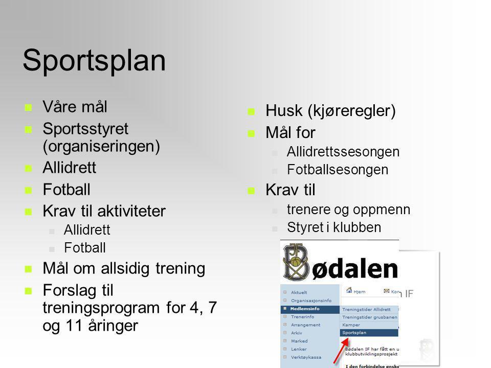 Sportsplan Våre mål Sportsstyret (organiseringen) Allidrett Fotball Krav til aktiviteter Allidrett Fotball Mål om allsidig trening Forslag til trening