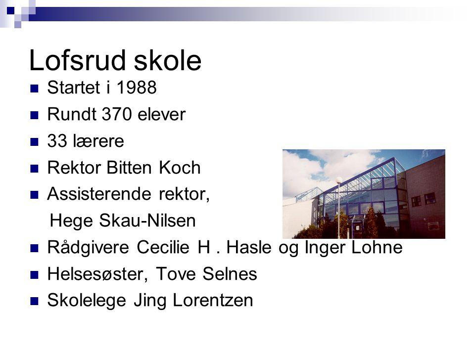 Lofsrud skole Startet i 1988 Rundt 370 elever 33 lærere Rektor Bitten Koch Assisterende rektor, Hege Skau-Nilsen Rådgivere Cecilie H.