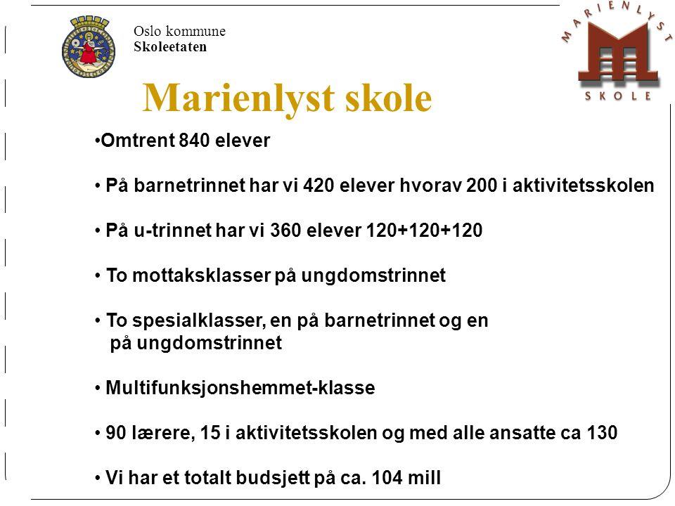 Oslo kommune Skoleetaten Marienlyst skole 650 elever På barnetrinnet har vi 390 elever hvorav 120 i aktivtetssskolen (SFO) På u-trinnet har vi 300 ele