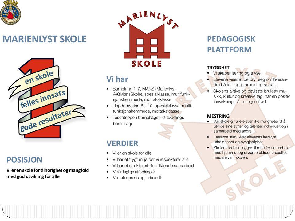 Skole å ret 2010/11 VISJON Én skole Felles innsats Gode resultater Vi har Barnetrinn 1-7, MAKS (Marienlyst AKtivitetsSkole), spesialklasse, multifunks