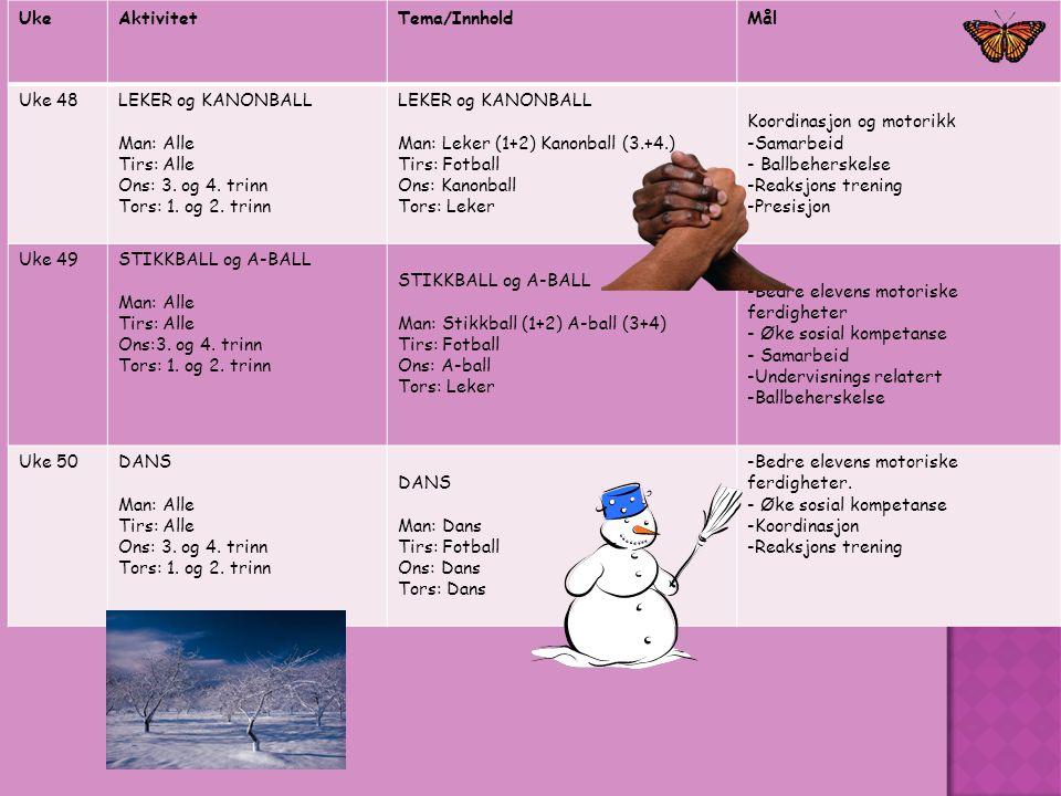 UkeAktivitetTema/InnholdMål Uke 48LEKER og KANONBALL Man: Alle Tirs: Alle Ons: 3. og 4. trinn Tors: 1. og 2. trinn LEKER og KANONBALL Man: Leker (1+2)