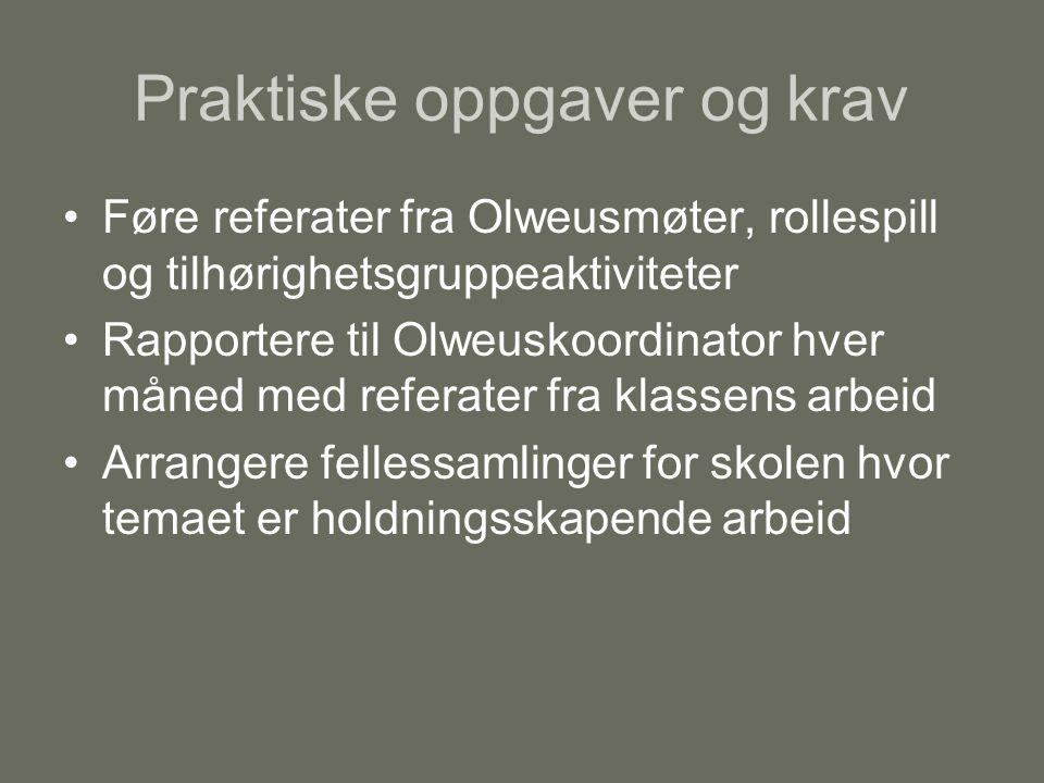 Praktiske oppgaver og krav Føre referater fra Olweusmøter, rollespill og tilhørighetsgruppeaktiviteter Rapportere til Olweuskoordinator hver måned med