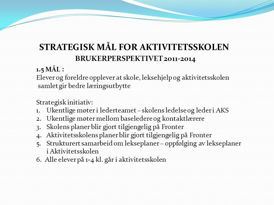 2.2 MÅL : Aktivitetsskolen rekrutterer, utvikler og beholder høyt kvalifisert personal Strategiske initiativ 1.