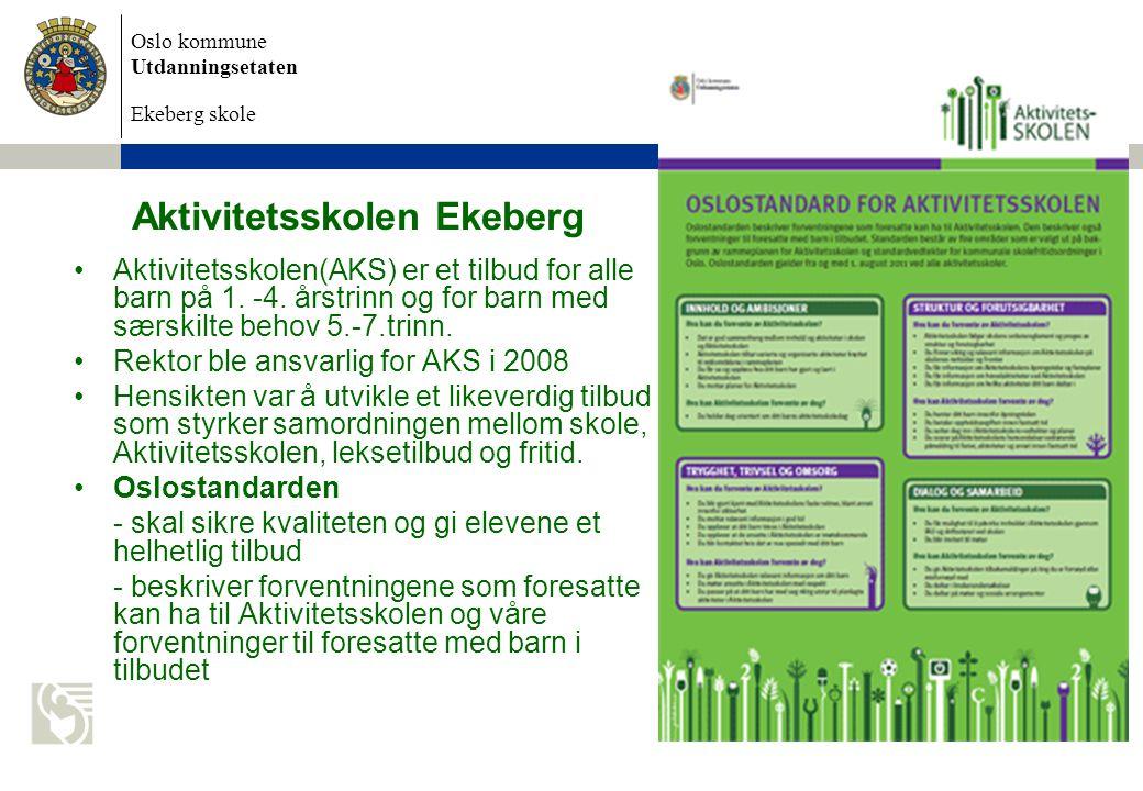 Oslo kommune Utdanningsetaten Ekeberg skole Aktivitetsskolen Ekeberg Aktivitetsskolen(AKS) er et tilbud for alle barn på 1.