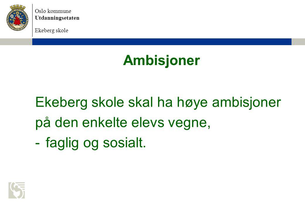 Oslo kommune Utdanningsetaten Ekeberg skole Ambisjoner Ekeberg skole skal ha høye ambisjoner på den enkelte elevs vegne, -faglig og sosialt.