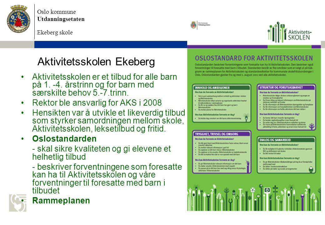 Oslo kommune Utdanningsetaten Ekeberg skole Aktivitetsskolen Ekeberg Aktivitetsskolen er et tilbud for alle barn på 1.