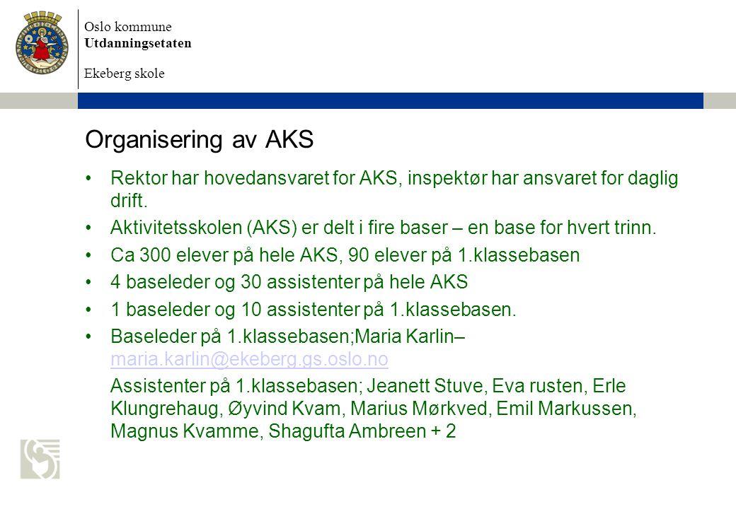 Oslo kommune Utdanningsetaten Ekeberg skole Organisering av AKS Rektor har hovedansvaret for AKS, inspektør har ansvaret for daglig drift.