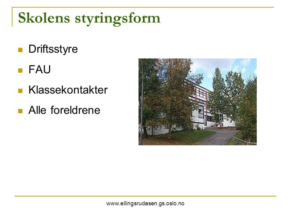 www.ellingsrudasen.gs.oslo.no Skolens styringsform Driftsstyre FAU Klassekontakter Alle foreldrene