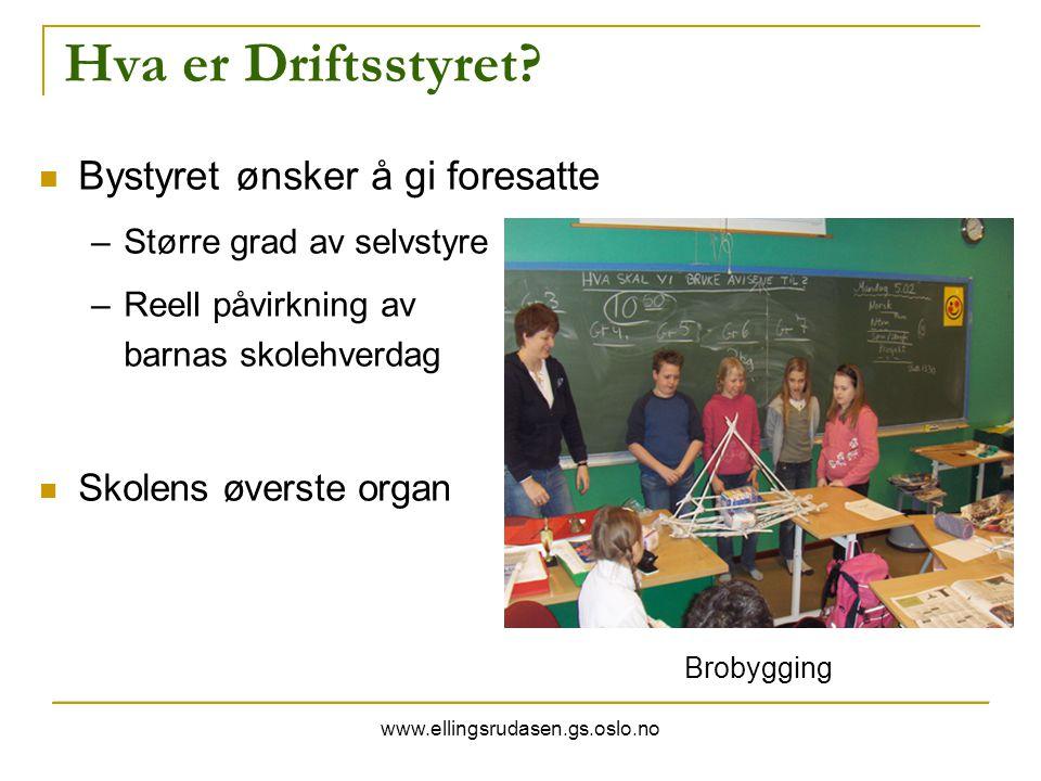 www.ellingsrudasen.gs.oslo.no Hva er Driftsstyret? Bystyret ønsker å gi foresatte –Større grad av selvstyre –Reell påvirkning av barnas skolehverdag S
